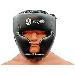 BodyRip Protector de cabeza casco boxeo MMA Kick Gear Protector Facial, Unisex, color negro, tamaño small