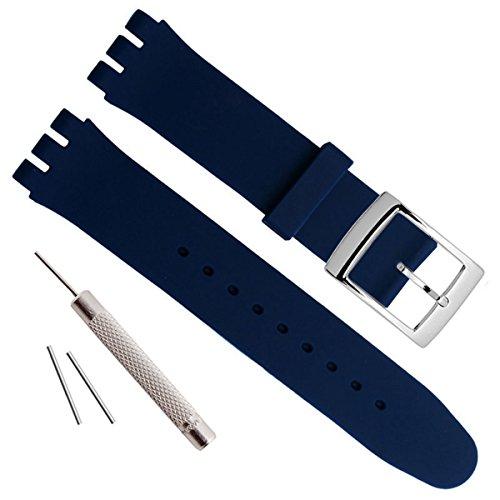 Bañado en Plata Hebilla de Acero Inoxidable Resistente al Agua Correa de Reloj de Goma de Silicona Reloj Banda (20mm, Navy Blue)