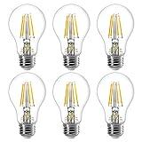 LE E27 LED Filament Lampe, 4W 400 Lumen Glühfaden Birnen, ersetzt 40W Glühfadenlampe, 2700 Kelvin Warmweiß Vintage Glühbirne, 6er Pack
