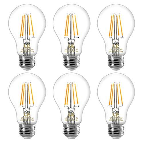 LE E27 LED Filament Lampe, 4W 400 Lumen Glühfaden Birnen, 2700 Kelvin Warmweiß, ersetzt 40W Glühfadenlampe, 6er Pack -