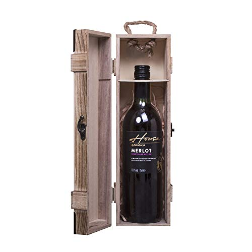 woodluv Vintage Wooden Single Wine Bottle Gift Box With Built-in handle