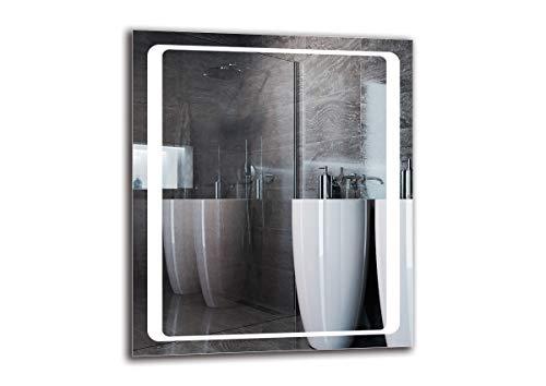 LED Spiegel Premium - Spiegelmaßen 60x70 cm - Badspiegel mit LED Beleuchtung - Wandspiegel - Lichtspiegel - Fertig zum Aufhängen - ARTTOR M1CP-49-60x70 - Lichtfarbe Weiß warm 3000K - ARTTOR