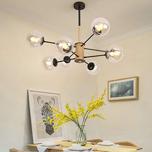 FEE-ZC Deckenlampe Küche Led Pendelleuchte Schwarz Glas Kronleuchter Modern Esszimmer Holz Wohnzimmer Esszimmer E27 Sockel 110V-220V, 8 Head -