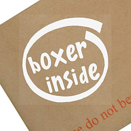 1x Boxer inside-window, Auto, Van, Aufkleber, Schild, selbstklebend, Hund, Haustier, auf, Tafel, Blei, Schüssel, Rinde, Dach, Schale, Welpe, böse, Guard, Big -