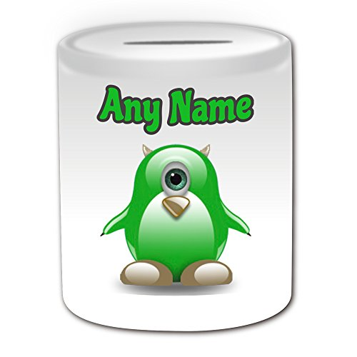 chenk – Mike Wazowski Spardose (Pinguin Cartoon Charakter Kostüm Design Thema, weiß) – alle Nachricht/Name auf Ihre einzigartige – Silly Funny Neuheit kawaii Humor Anime Animation Film Movie Game Roman Art Clipart Episode TV Fernseher Serie Japan japanische Manga Comic Comedy Streifen Buch Disney Zeichnen Malen Superheld Hero Super Monsters University grün Einäuglein (Disney Cartoon Charakter Kostüme)