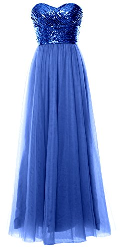 MACloth Women Long Bridesmaid Dress Strapless Sequin Wedding Party Formal Gown Royal Blue-Blue