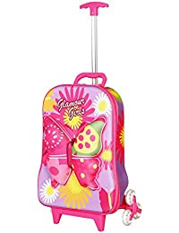 T-Bags Synthetic 3D Butterfly Children's Trolley Bag (Purple, BT02P)