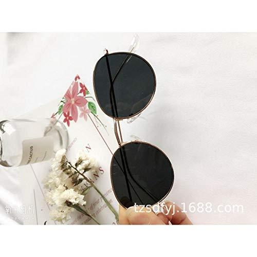 neue Sonnenbrille Männer und Frauen Modelle Brille kleines Gesicht Retro Metall Runde Sonnenbrille Flut Koreanische Version des Netzes rot Polarisator Goldrahmen schwarz grau Stück @ Goldrahmen schw