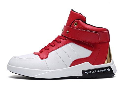TQGOLD Scarpe da Ginnastica Sneakers Alte Sportive Fitness Uomo (Bianca Rosso,43 EU)