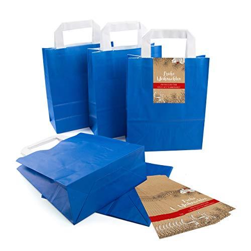 25 kleine ROYAL-blaue Papier-Tüte Geschenk-Tasche mit Henkel Boden 18 x 8 x 22 cm + 25 Aufkleber FROHE WEIHNACHTEN DANKE KUNDE MISTEL weiß rot schwarz beige Geschenkverpackung SET Be-Füllen bio