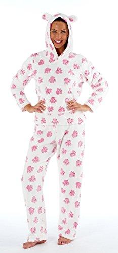 Pyjama-pièce pour femme en polaire en flanelle gris/rose tailles pattes eUR 38 40 42 44 46 Rose - Rose bonbon