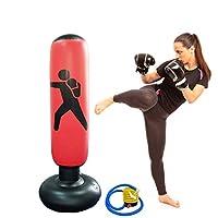 Himifuture - Saco de boxeo hinchable de 160 cm, con soporte, para fitness, color rojo vino