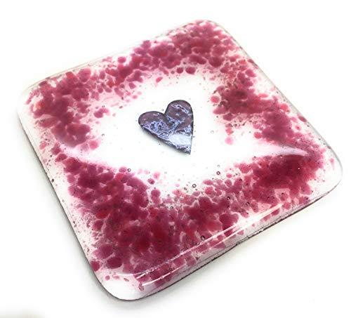 Glasuntersetzer in Herzform mit Cranberry Pink - Lovely Geburtstag, Weihnachten, Hochzeit, Jahrestag, Lehrer Geschenk - für Ihren Schreibtisch, Nachttisch und Schminktisch - Geschenke Schreibtisch Lehrer