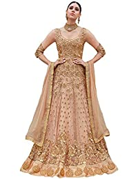 Like A Diva Beige Net Floor Length Anarkali Suit With Floral Embroidery For Women