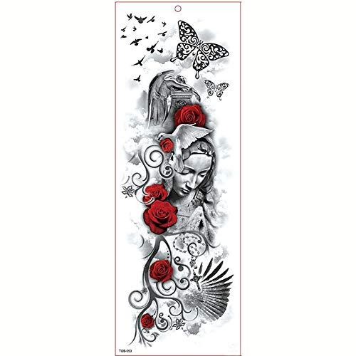 GHHCG Große Arm Ärmel Tattoo Wasserdicht Temporäre Tätowierung Aufkleber Lion Beast Rose Tatoo Body Tattoo, Tqb053