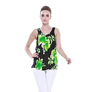 Aloha-Fashion-Mujeres-camiseta-con-capucha-floral-hawaiana-en-Negro-con-Verde-Hibiscus-gigante