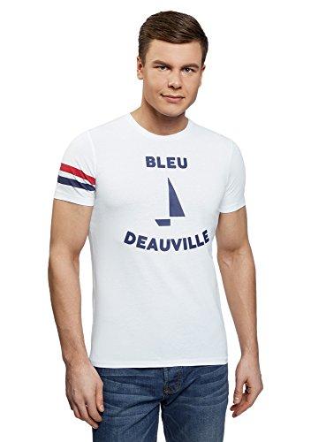 Oodji ultra uomo t-shirt in cotone con stampa, bianco, it 56-58 / eu 58-60 / xxl