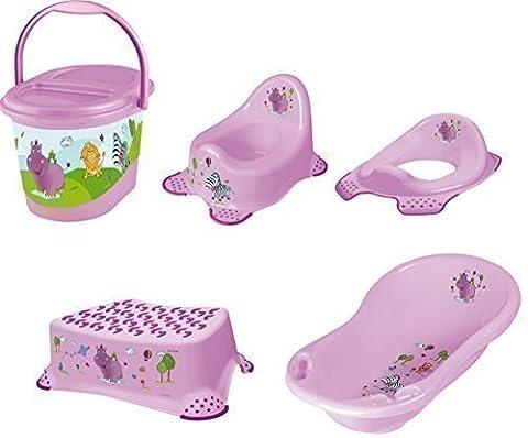 Baby Bathroom Set, 5 Piece - Hippo Purple, XXL Baby Bathtub + Potty + Toilet Seat + Step Stool + Nappy Bucket