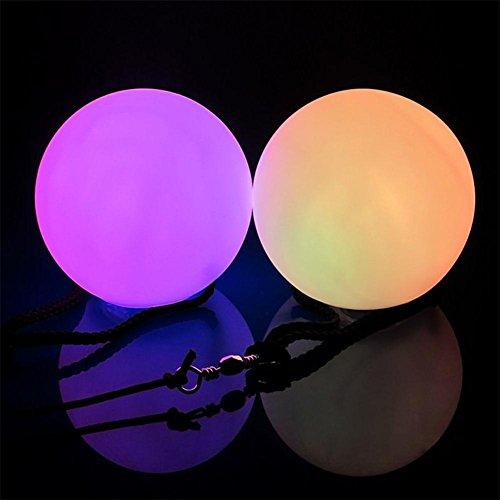 LED-POI-Kugeln, LED-Licht Ball von Hangang Werfen LED Poi Bälle Rave Bälle für Tänze, Kind Spielzeug Camping & Fun Indoor / Outdoor-Aktivitäten, Best of Stress Bälle für ADD, Autismus (2er Set)