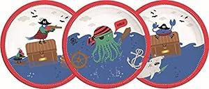 PROCOS 90243 - Platos de cartón para Fiestas (8 Unidades), diseño de Piratas, Color Rojo, Blanco y Azul