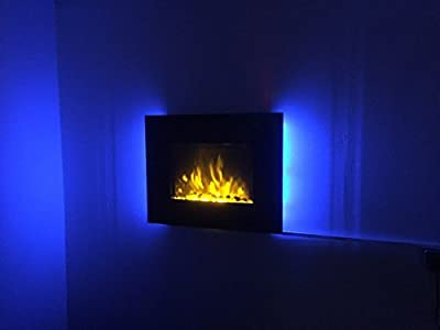 TruFlame 2018 7 COLOUR CHANGING LED WALL MOUNTED ELECTRIC FIRE FLAT GLASS