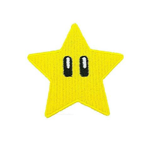 Gold Star Patch Power Up gesticktes Eisen auf Abzeichen Aufnäher Kostüm Cosplay Mario Kart/SNES/Mario World/Super Mario Brothers/Mario Allstars