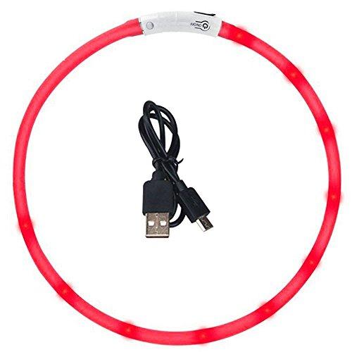 Nachtlicht Red USB Wiederaufladbare LED Leucht Hundehalsband Wasserdicht Einstellbare Blinkende Pet Sicherheit Kragen 1 Stück -