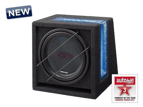 ALPINE SBG 844BR (ALPINE Subwoofer; 8 inch; 400 watt Sub with Alpine's own Box Trimmed & blue lighting with acrylic Window 4 ohms)