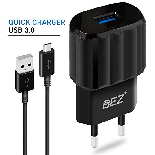 Quick Charge 3.0 Ladegerät - BEZ® USB Ladegerät, Wandladegerät Handy, Ladekabel Samsung für S7 / S6 / S5 / A5 / J5, Schnellladegerät mit Micro-USB Kabel für Sony Z3 / Z5, Moto G4 und Andere - Schwarz