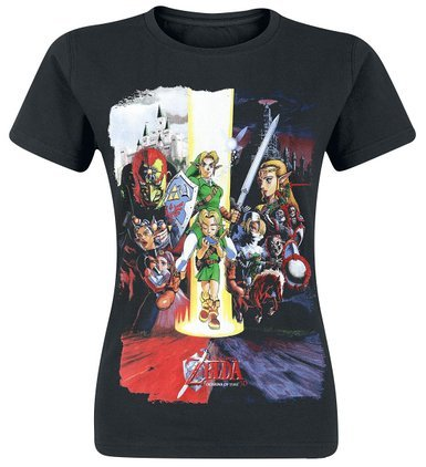 Legend of Zelda Nintendo Women's Ocarina of Time Cast Print T-Shirt, Camiseta para Mujer, Negro, Small