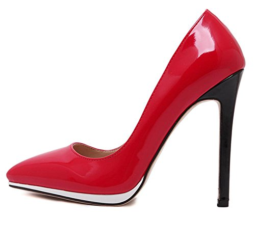 YMXJB Europe et couleurs mélangées talons sexy Chaussures femmes Red