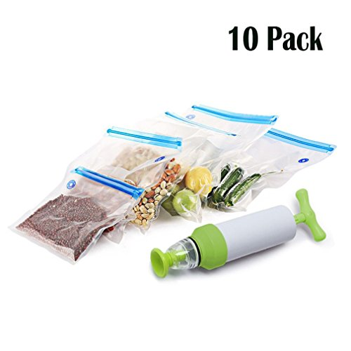 Pinke Food Sous Vide Tasche, wiederverwendbare BPA frei Lebensmittel Vakuum versiegelt für Anova Joule Precision Cookers Einfach zu bedienen für Vakuum versiegelt & Kochen mit 1 Handpumpe -