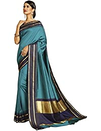 Craftsvilla Women's Bangalore Silk Woven Traditional Blue Saree With Blouse Piece