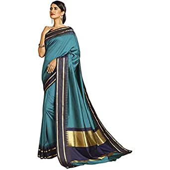 Craftsvilla Women's Bangalore Silk Woven Traditional Blue Saree with Blouse piece