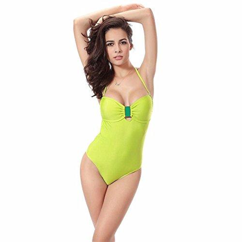 SHISHANG Frau Bikinibadebekleidung kann die Länge des Badeanzug Europa und den Vereinigten Staaten weichen hohe Elastizität einstellen Green
