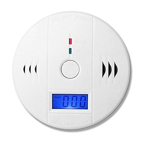 Eray CO Détecteur de Monoxyde de Carbone Portable avec Ecran LCD, Alarme Détecteur de Gaz CO Alerte Alimenté par Batterie (Non Fourni)