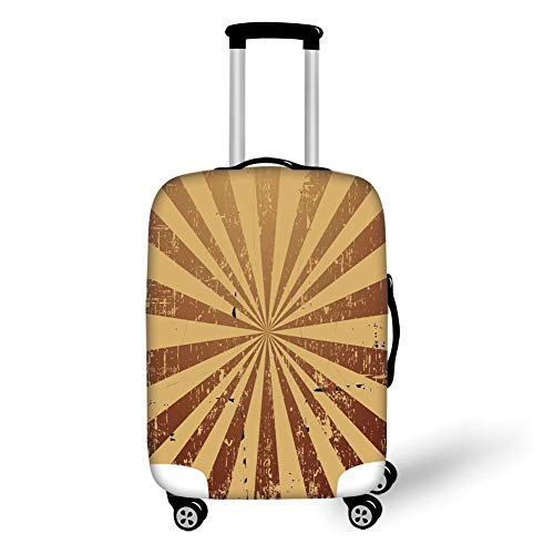 Travel Luggage Cover Suitcase Protector,Tan,Sunburst Pattern Aged Rusty Jagged Grungy Retro Style Rays Old Worn Composition,Brown Light Brown,for Travel,L -