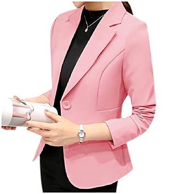 Vinyst Women's Button Down Notch Lapel Solid Work Office Blazer Coat Jacket