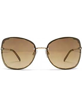 French Connection Schneiden Sie randlose Sonnenbrille im glänzend Gold FCU639