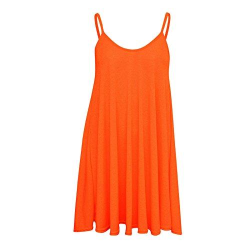 Fast Fashion Damen Schaukel Kleid Plus Size Ärmelklar Neon Orange