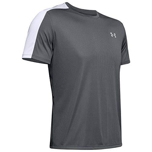 Under Armour Herren leichtes Sportshirt mit reflektierenden Details, kurzärmliges Funktionsshirt UA Speed Stride Shortsleeve, Pitch Gray, 3XL - Körper-handschuh-kinder T-shirt