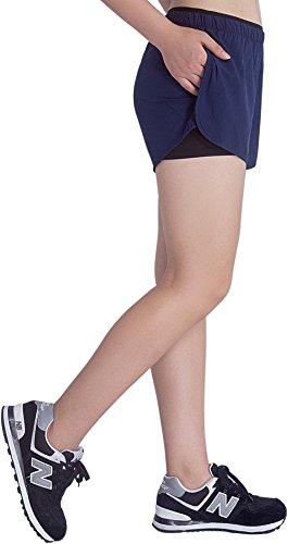 KomPrexx 2 in 1 Shorts Damen mit Taschen Innenhose Kurz Sporthose Laufshorts Sport Fitness Hosen Blau