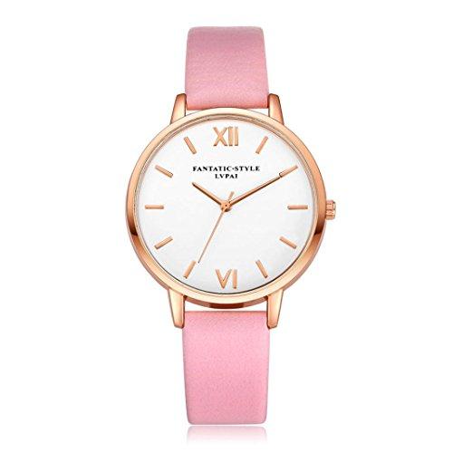 Relojes Mujer,Xinan Reloj de Pulsera Reloj Redondo Cuero Imitación (Rosa)
