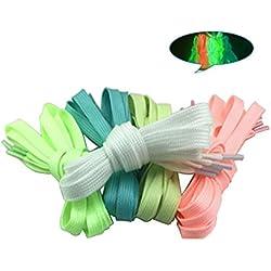 CHRISLZ 10pc 100cm cordones fluorescentes para el partido o el baile Luminous Flat Cordones resplandecientes atletismo zapato cordones (5-color)