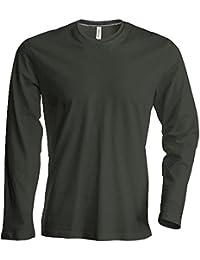 Kariban - Herren Langarm Rundhals T-Shirt / Forest Green, 4XL
