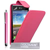 Yousave Accessories lg-fa01-z100p Pack Schutzhülle aus Polyurethan Stöbern Rosa Warm + Eingabestift + Displayschutzfolie für LG Optimus L7P700