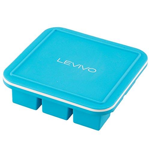 Levivo Silikon Eiswürfelform mit Deckel, Silikonform mit eingearbeitetem Metallkern im Rahmen, für 9 Eiswürfel á 3,5 x 3,5 x 3,5 cm, geeignet Zum Einfrieren oder als Pralinenformen, Weiss/Blau