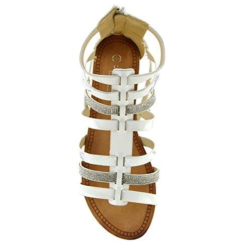 Damen Fashion Gladiator Riemchen Sommer Sandalen Weiß