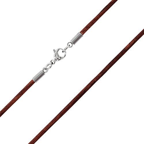 AURORIS-Echtleder-Kette-2-mm-mit-Karabinerverschluss-aus-Edelstahl-Farbe-Lnge-whlbar