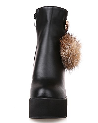 YE Damen Wedges Plateau High Heels Stiefeletten mit Keilabsatz Reißverschluss 8cm Absatz Ankle Boots Schwarz